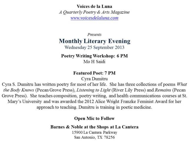 B & N Monthly Poetry Event-Wed 25 Sep 2013