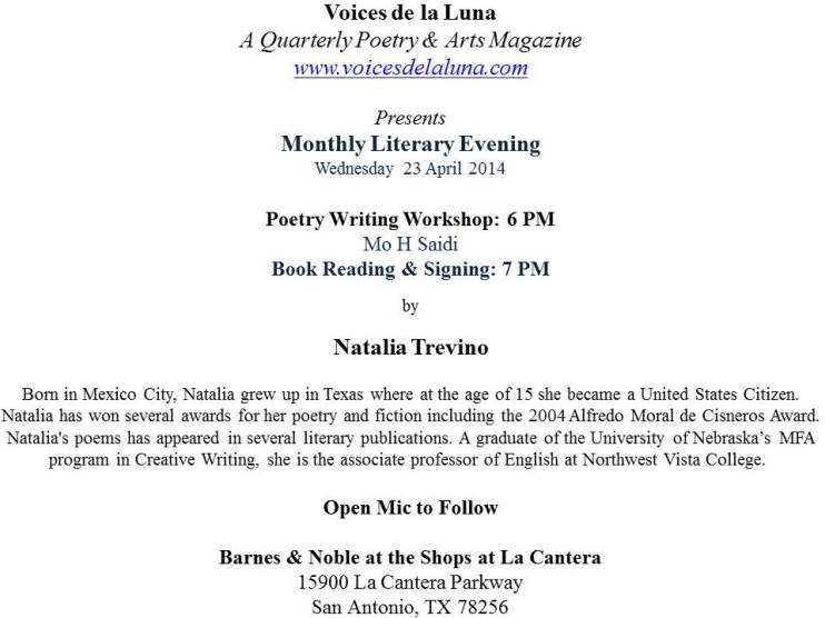 B & N Monthly Poetry Event-Wed 23 April 2014.txt