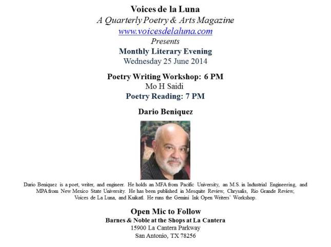B & N Monthly Poetry Event- Jun 2014